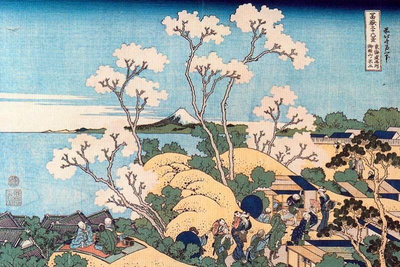 Katsushika Hokusai. Fuji from the mountain Gotenyama river Shinagawa