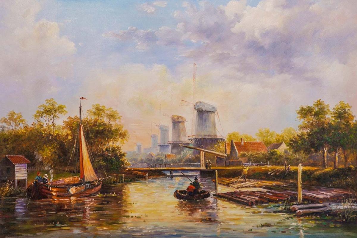 Alexander Romm. Dutch landscape with a mill