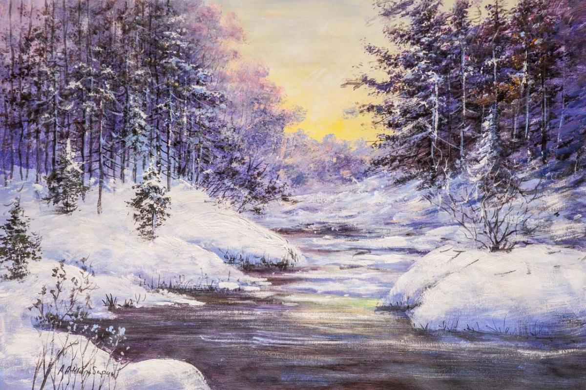 Andrey Sharabarin. Sunrise in the winter forest