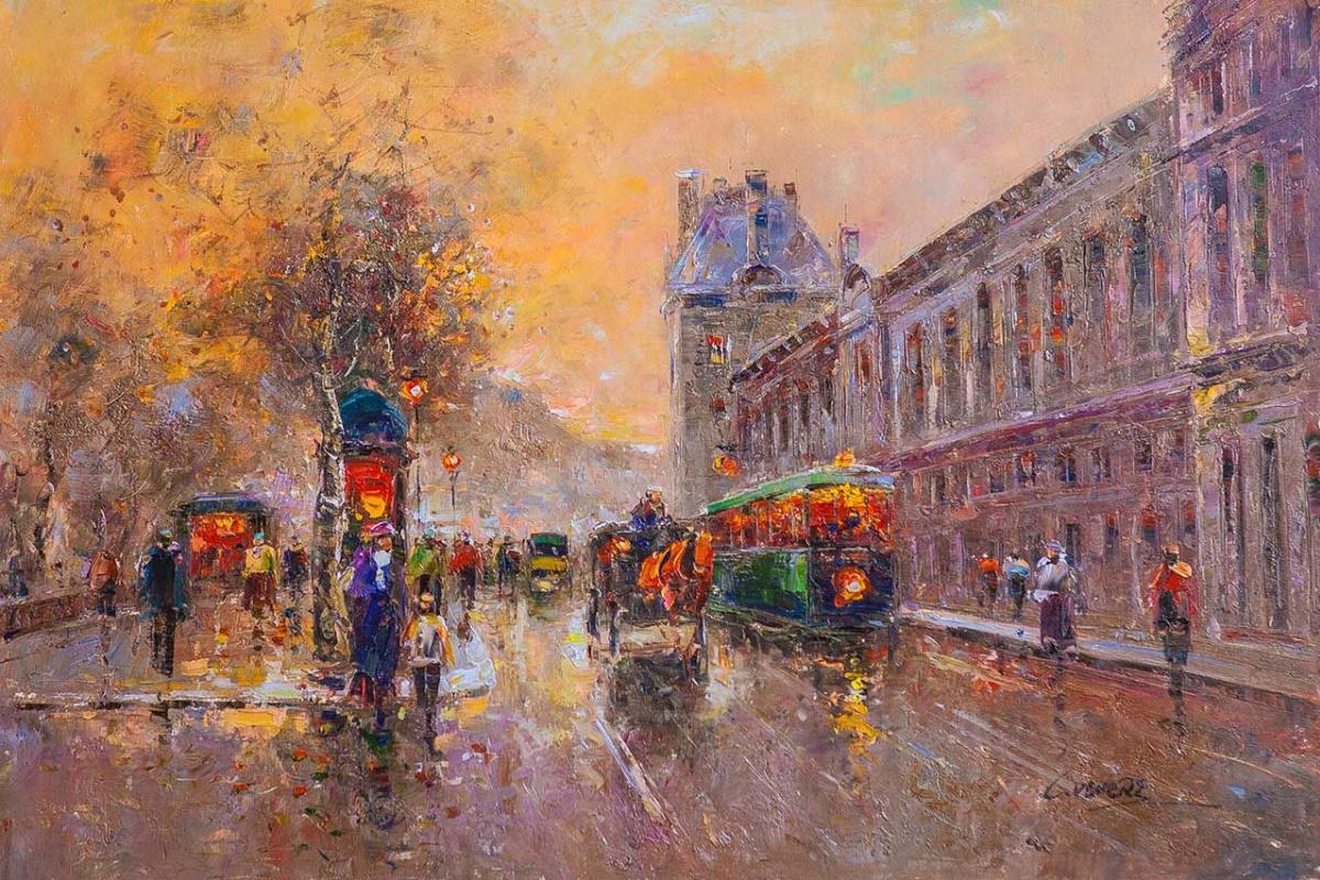 "(no name). Landscape of Paris by Antoine Blanchard ""Louvre"""