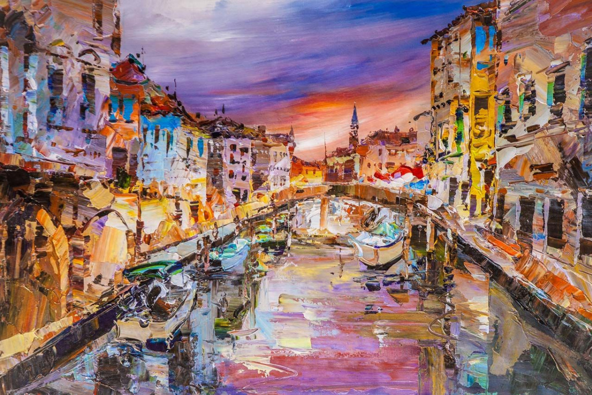 Jose Rodriguez. Walk along the canals of Venice. Sunset