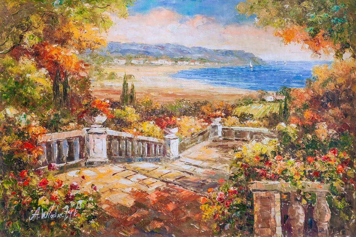 "Andrzej Vlodarczyk. Mediterranean landscape in oil ""View of the fields from the terrace"""
