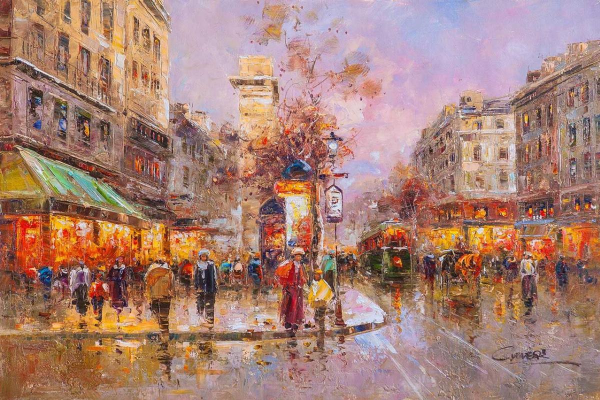 """(no name). Landscape of Paris by Antoine Blanchard """"Rue Saint-Denis"""""""
