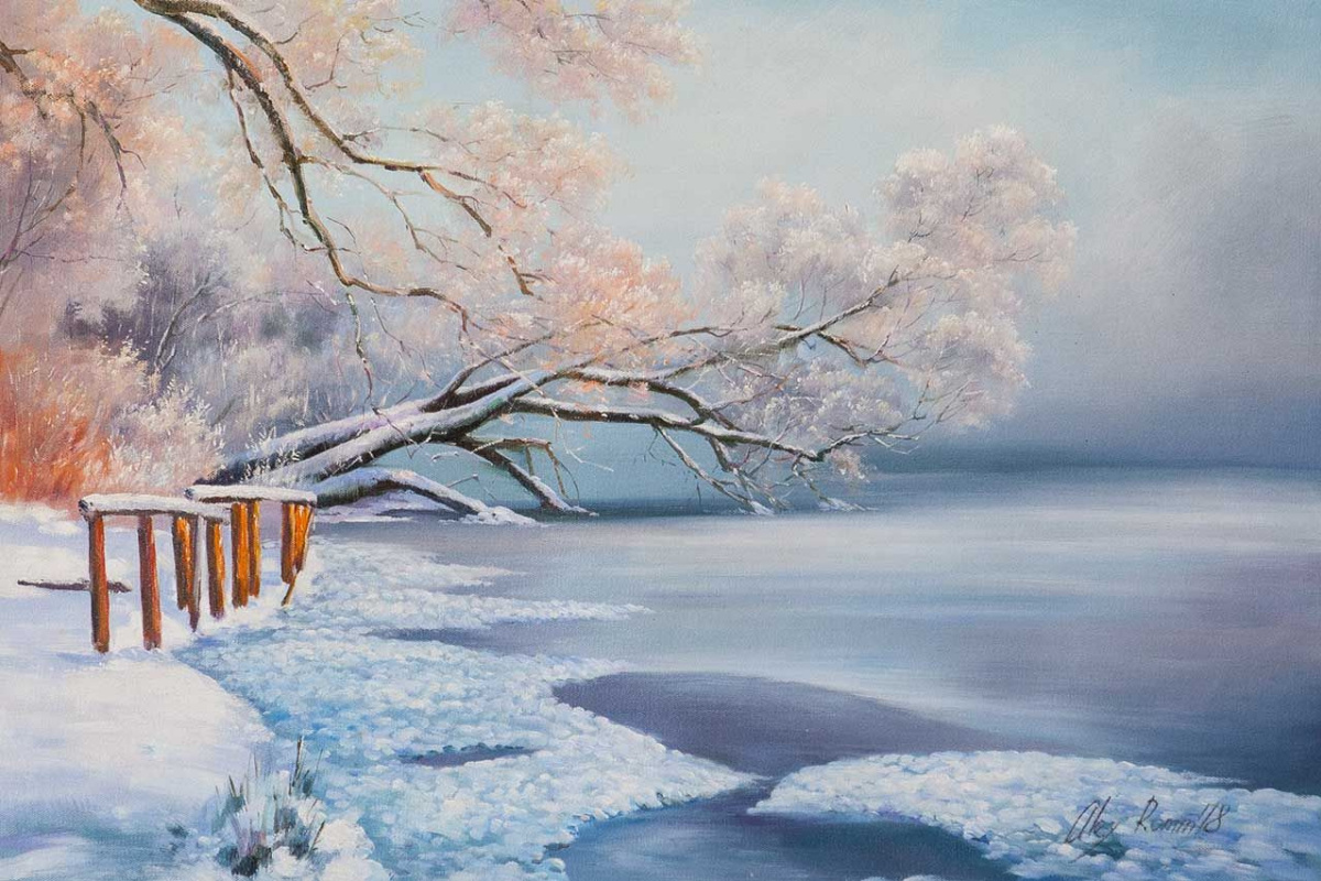 Alexander Romm. Trees in hoarfrost over the river