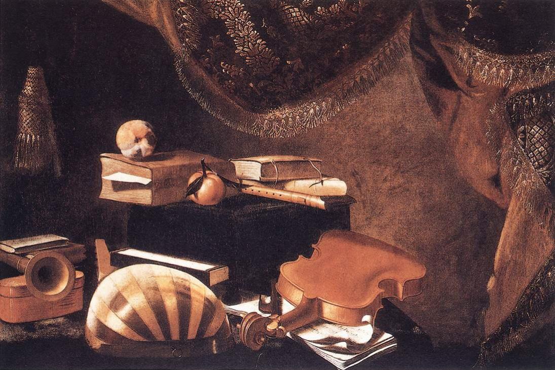 Эваристо Баскенис. Натюрморт с музыкальными инструментами