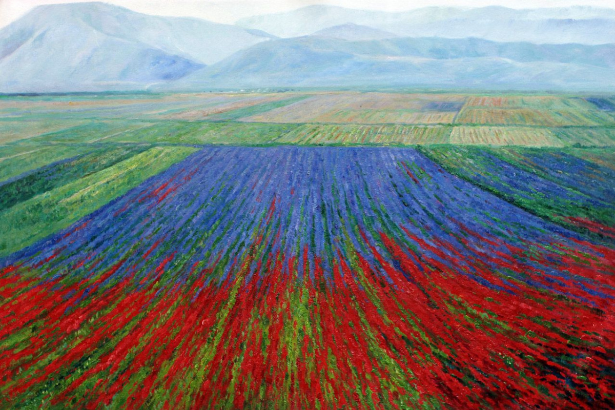 Alexander Romm. Multicolored fields on the background of mountains