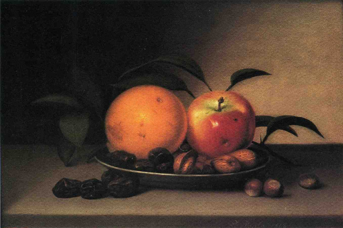 Raphaelle Peale. Fruits and nuts in plate