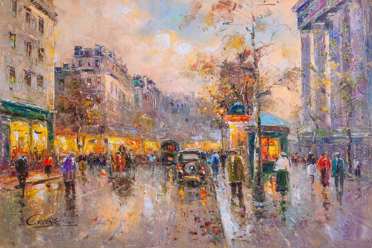 "(no name). Landscape of Paris by Antoine Blanchard ""Boulevard des Capucines et Madeleine"""