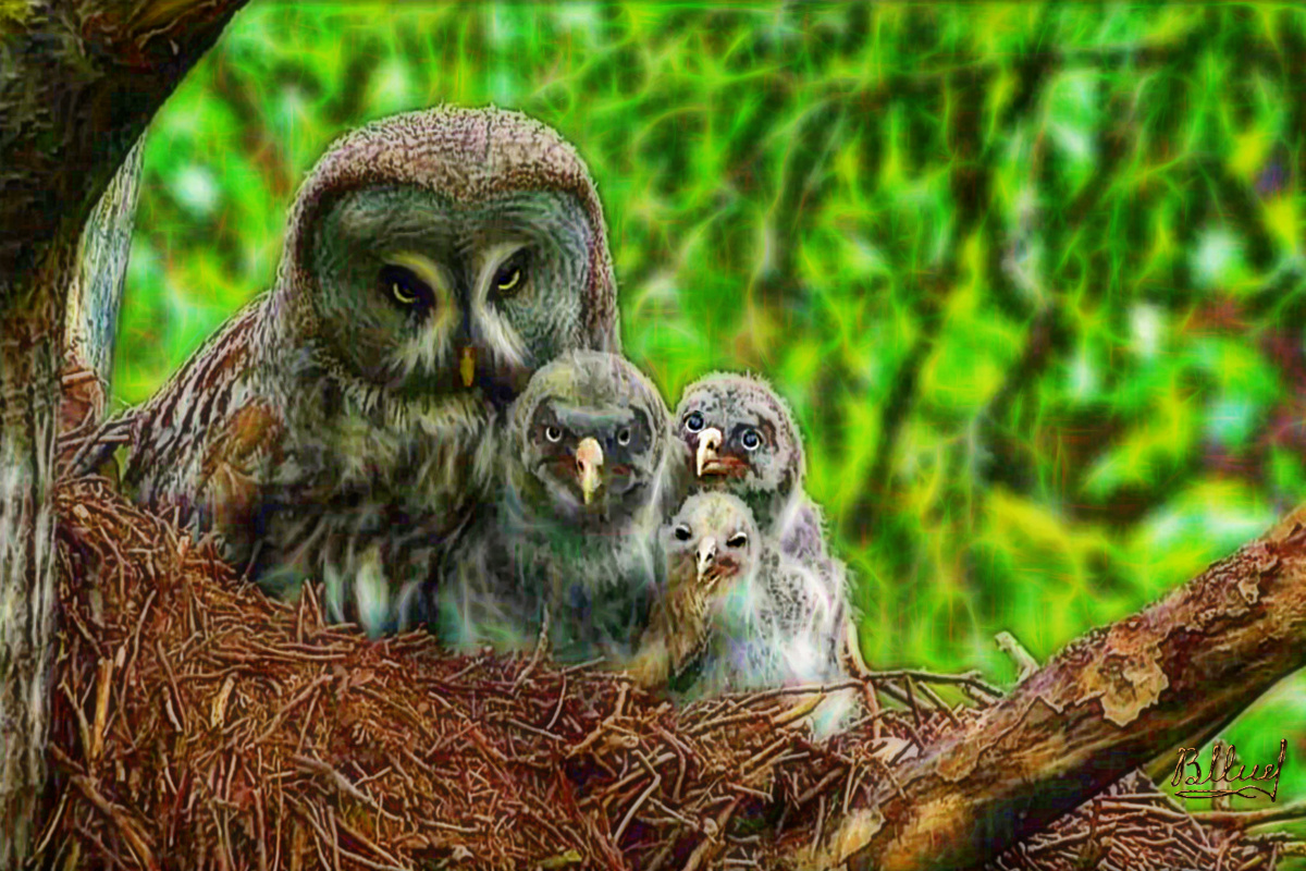 Vasiliy Mishchenko. Owlets with mom