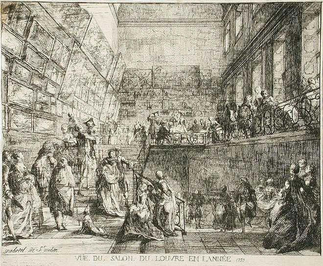 Gabriel de Saint-Aubin. View of the Salon in the Louvre in the Year 1753, 1753