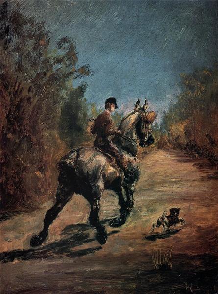 Анри Тулуз-Лотрек— «Всадник с маленькой собачкой», 1879 г.