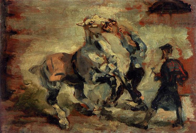 Анри Тулуз-Лотрек — «Лошадь, сопротивляющаяся наезднику», 1881 г.