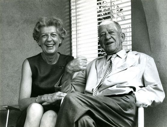 Olda and Oskar Kokoschka on the terrace of the house in Villeneuve, 1970.