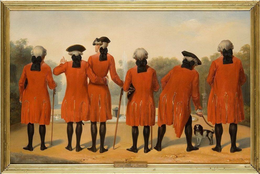 Феликс Филиппото, «Джентльмены герцога Орлеанского в камзолах Сен-Клу» (1839)