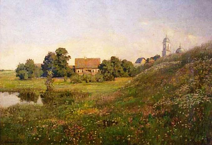 Софья Кувшинникова. Пейзаж с церковью. 1893. Холст, масло. 41 х 59 см.