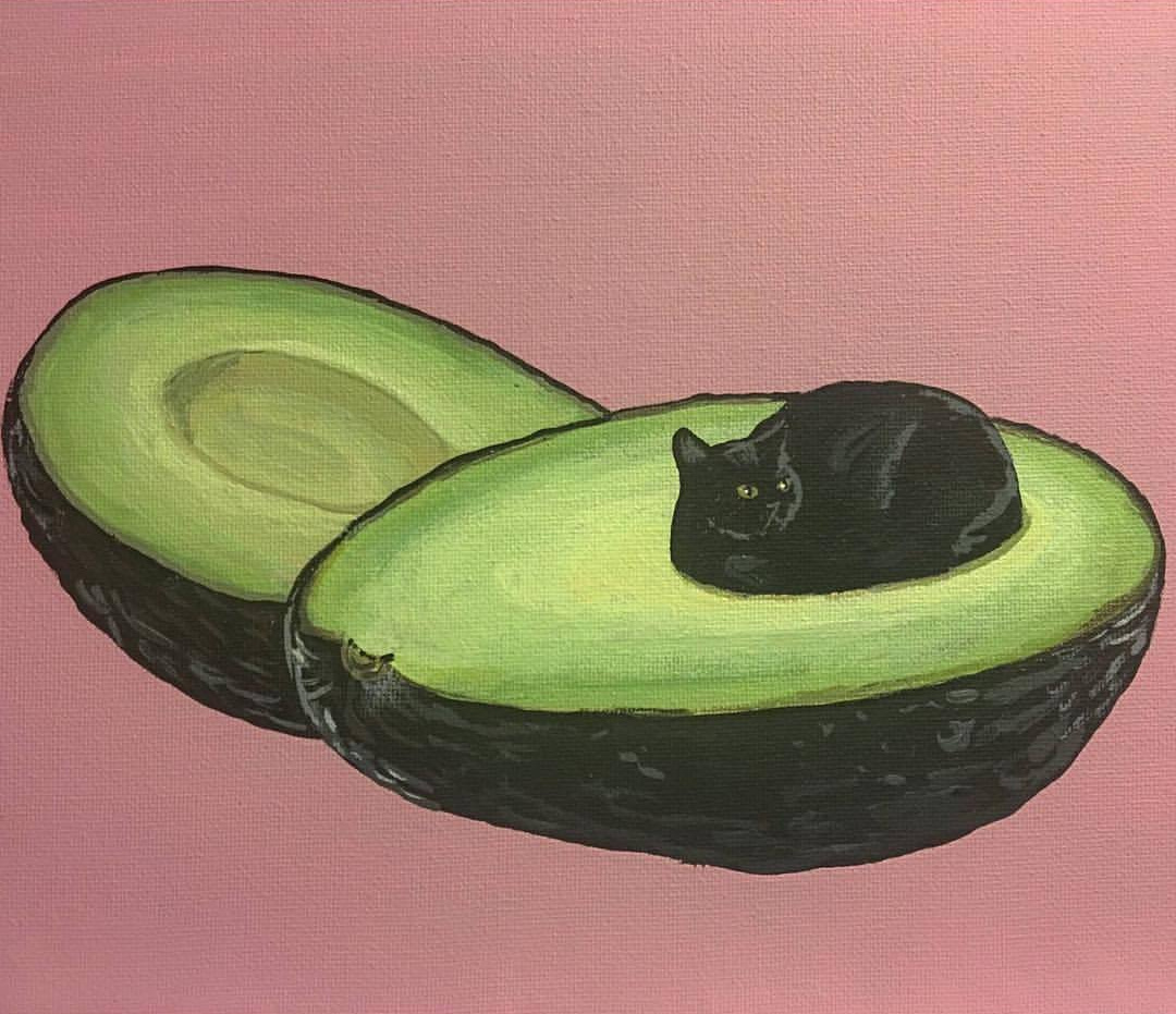 Авокадо, космос и «Большая волна»: сюрреалистические коты Даниала Райана