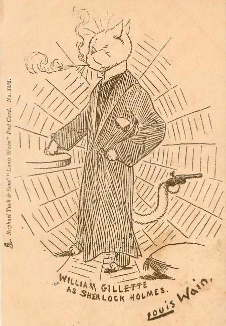Луис Уэйн, открытка «Уильям Джиллет в роли Шерлока Холмса» (1902)