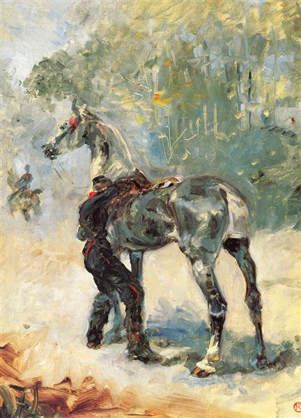 Анри Тулуз-Лотрек — «Артиллерист, седлающий лошадь», 1879 г.