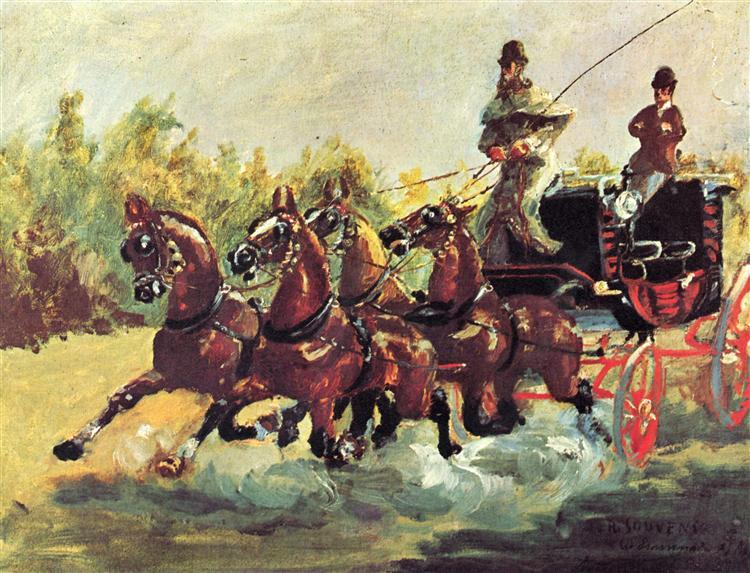 Анри Тулуз-Лотрек — «Граф Альфонс де Тулуз-Лотрек правит упряжкой из четырех лошадей», 1881 г.  Ху