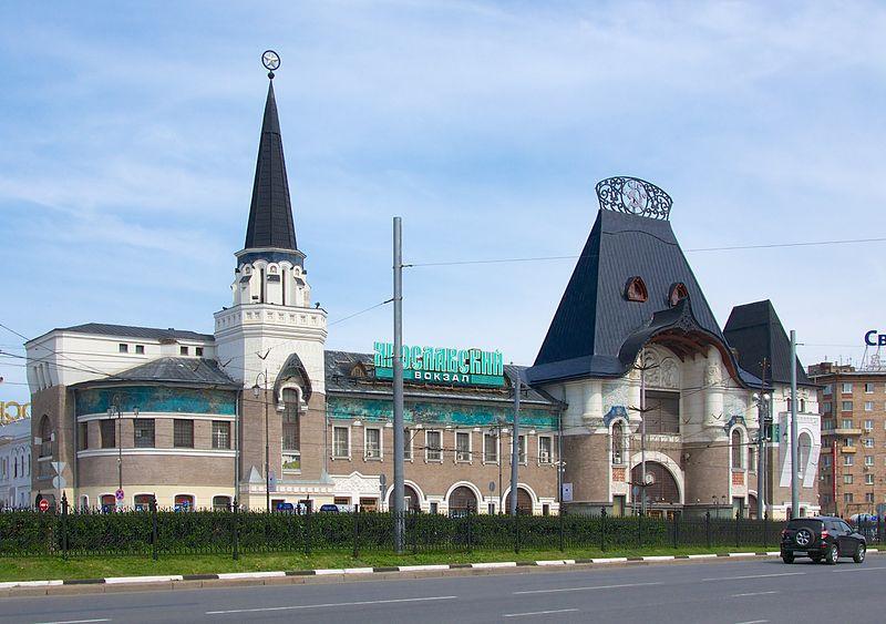 The main façade of the Yaroslavsky railway station building in Moscow. Architects Roman Kuzmin, Fyod