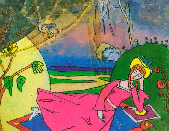 Nina Kandinsky. Sleeping Woman. Based on a drawing by Wassily Kandinsky. 1918 Glass, oil, foil.