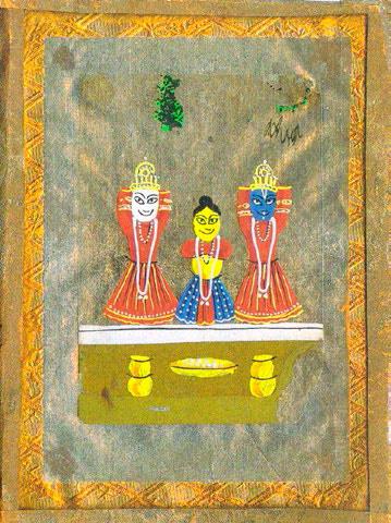 Nina Kandinsky. Three Idols. Paper, oil