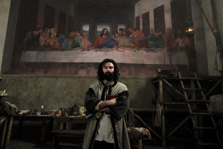 In the series, Leonardo da Vinci is aging before our eyes while working on The Last Supper.