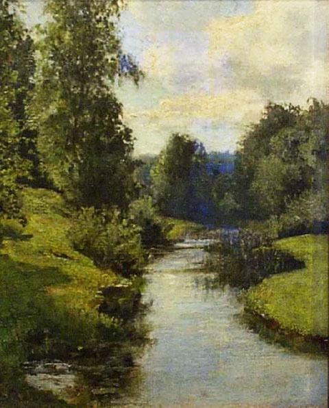 Софья Кувшинникова. Ручей в лесу. Холст, масло. 33 x 26.