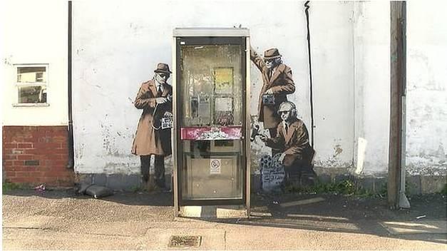 GCHQ Government Spies Telephone Box, 2014. Cheltenham