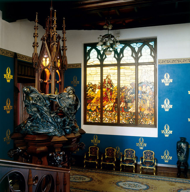 The Knight stained glass window by Mikhail Vrubel. Photo