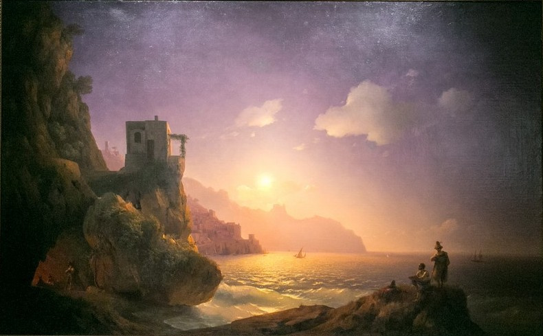 Ivan Aivazovsky. Moonlight in Amalfi with a group of bandits, among them Salvator Rosa to paint from