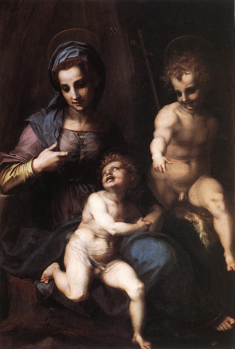 Andrea del Sarto. Madonna and child with Saint John