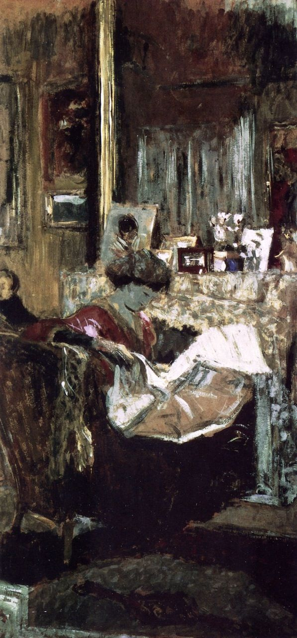 Jean Edouard Vuillard. Madame Hessel with a newspaper by the fireplace