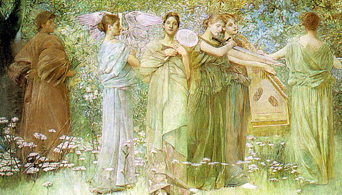 Thomas Wilmer Dewing. Nymphs