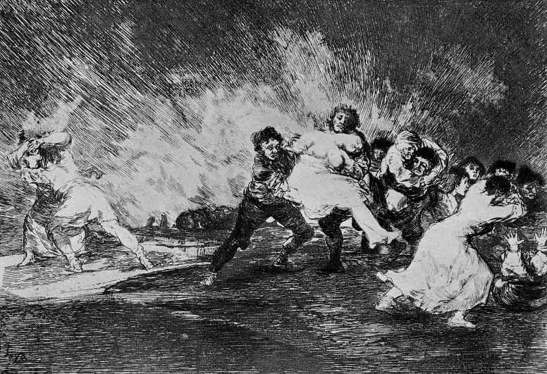 """Франсиско Гойя. Серия """"Бедствия войны"""", лист 41: Они спасаются сквозь пламя"""
