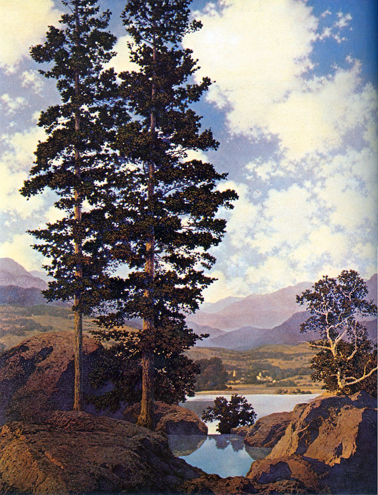 Maxfield Parrish. Landscape with two pines (picturesque hills)