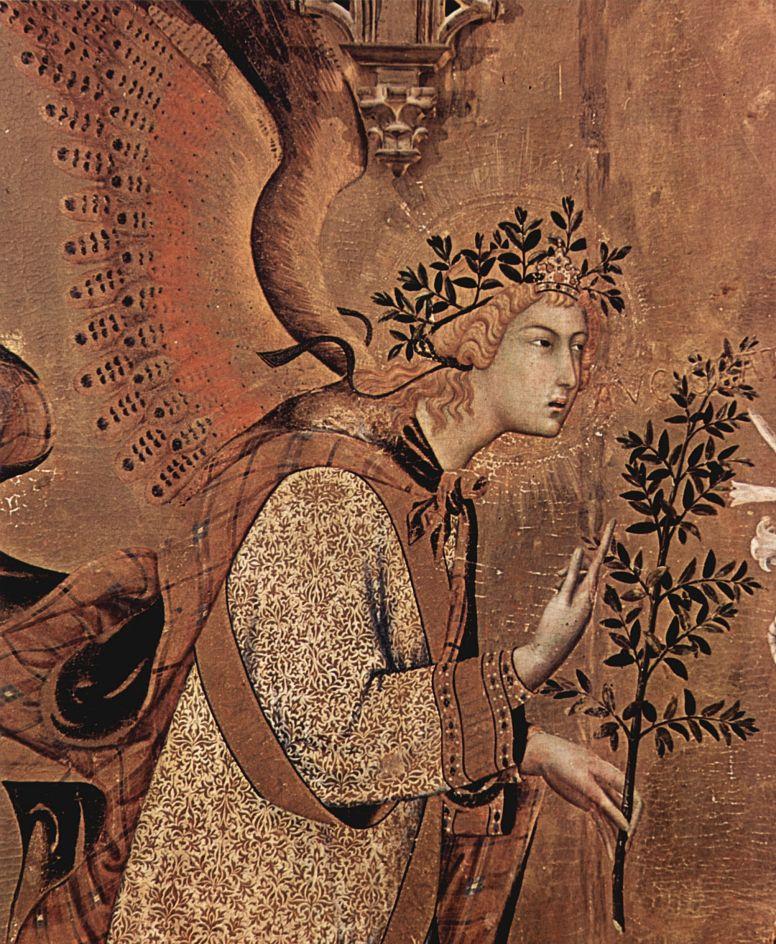Симоне Мартини. Благовещение, деталь: Благовествующий ангел
