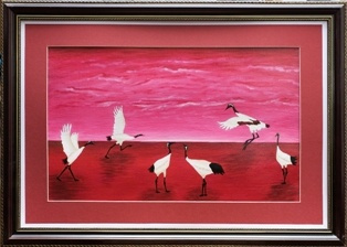 Victor Petrovich Burmin. Cranes at the pink dawn. # one.