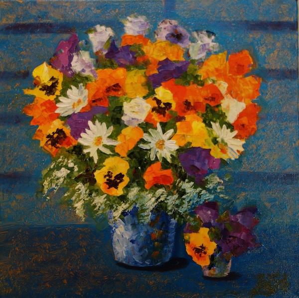 Larissa Lukaneva. Still life with violets and daisies