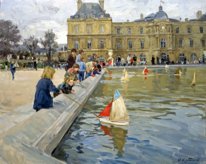 Yuri Krotov. Children with boats in the Luxembourg garden.