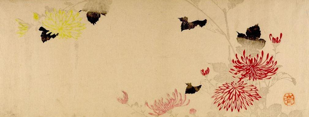 Utagawa Hiroshige. Yellow and red mums