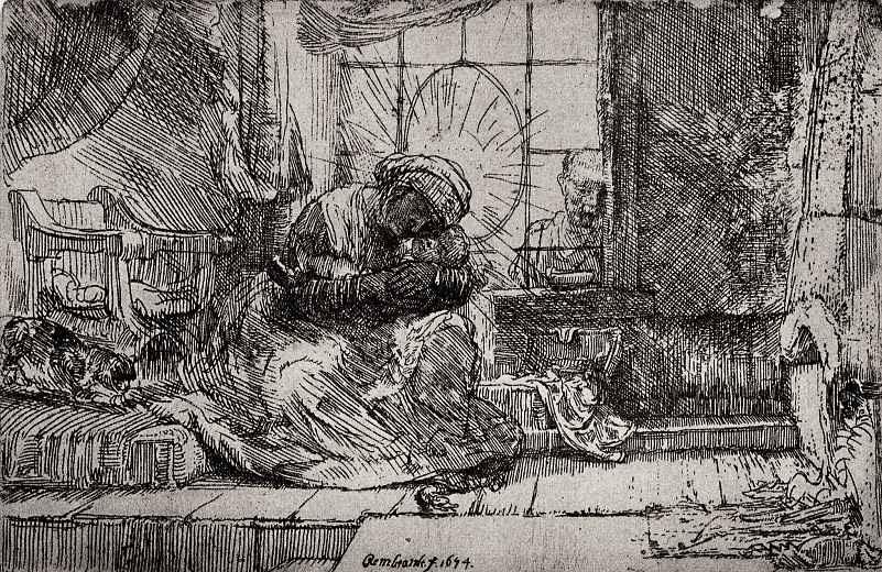 Рембрандт Ван Рейн. Святое семейство с кошкой