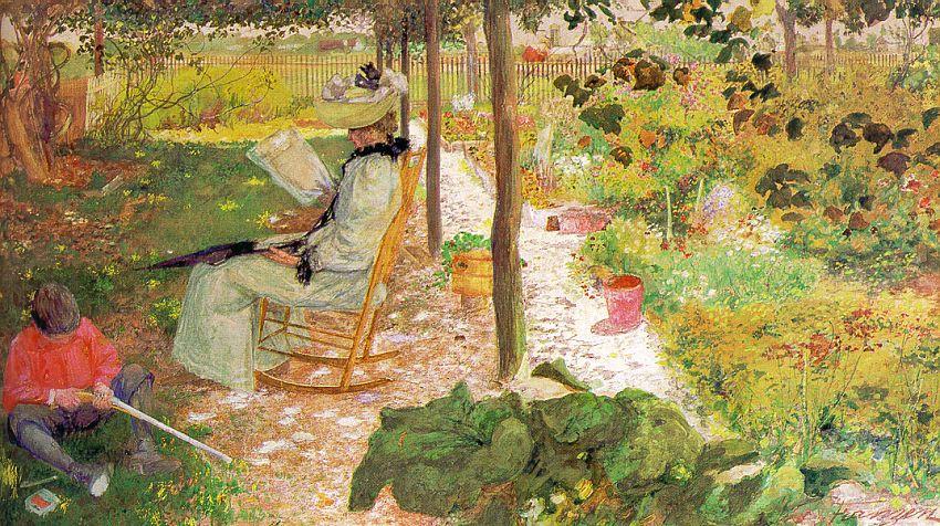Августа Франзен. Женщина читает в саду