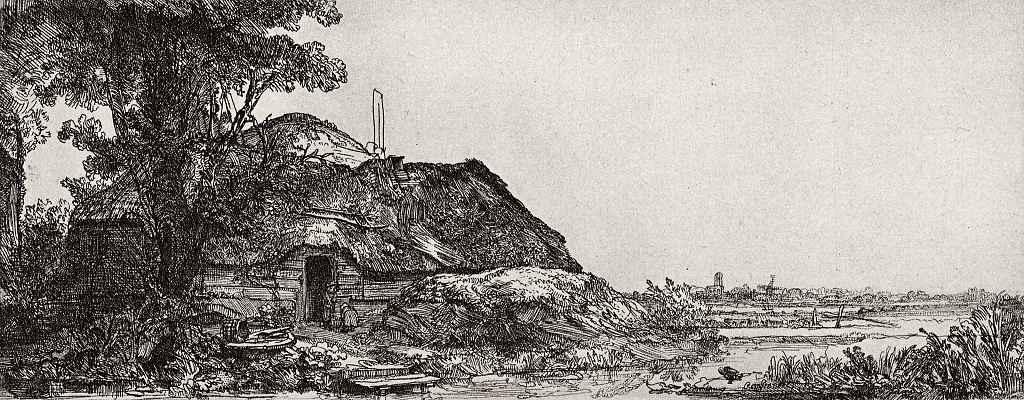 Рембрандт Харменс ван Рейн. Хижина под большим деревом