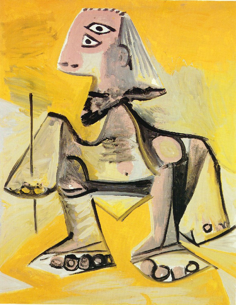 Пабло Пикассо. Мужчина, сидящий на корточках
