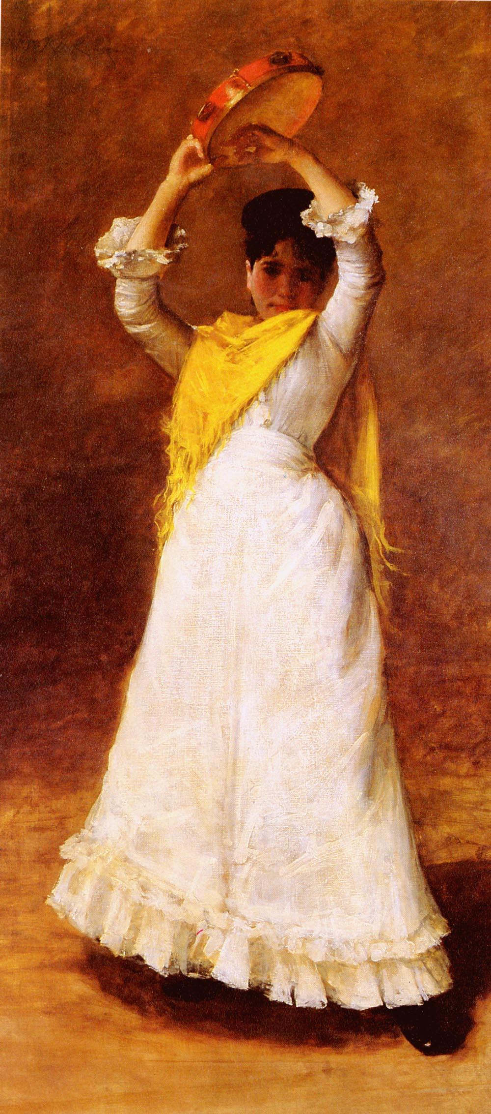 William Merritt Chase. Girl with a tambourine