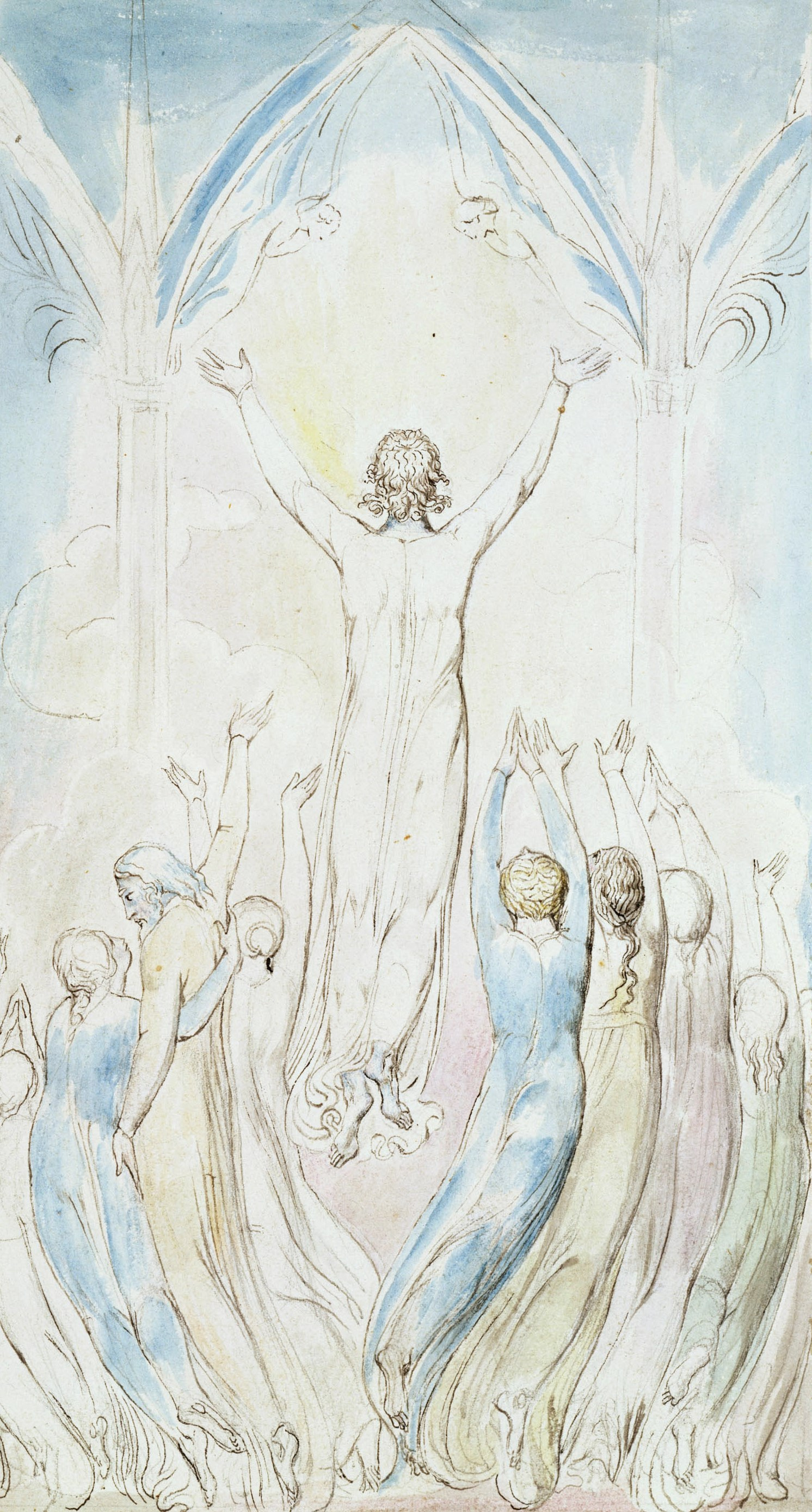 """William Blake. Opening the Heavenly portals. Illustration to the poem by Robert Blair's """"the Grave"""""""