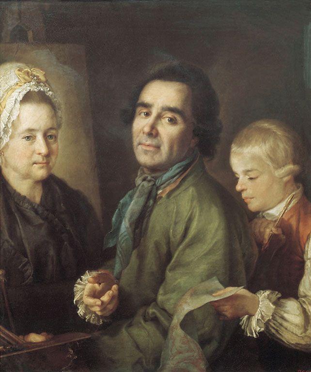 Petr Semenovich Drozhdin. Portrait of A. P. Antropov with his son in front of a portrait of his wife Elena