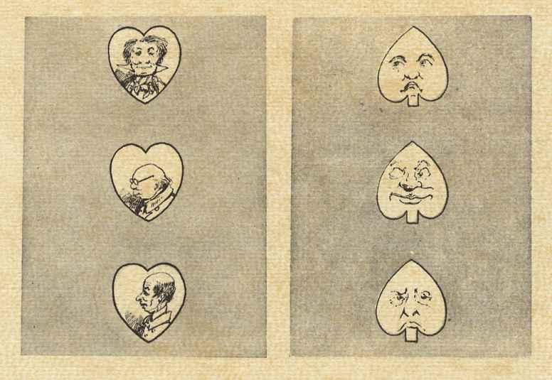 Альфред Кроуквилл. Карикатура в виде игральных карт: Тройка червей, тройка пик