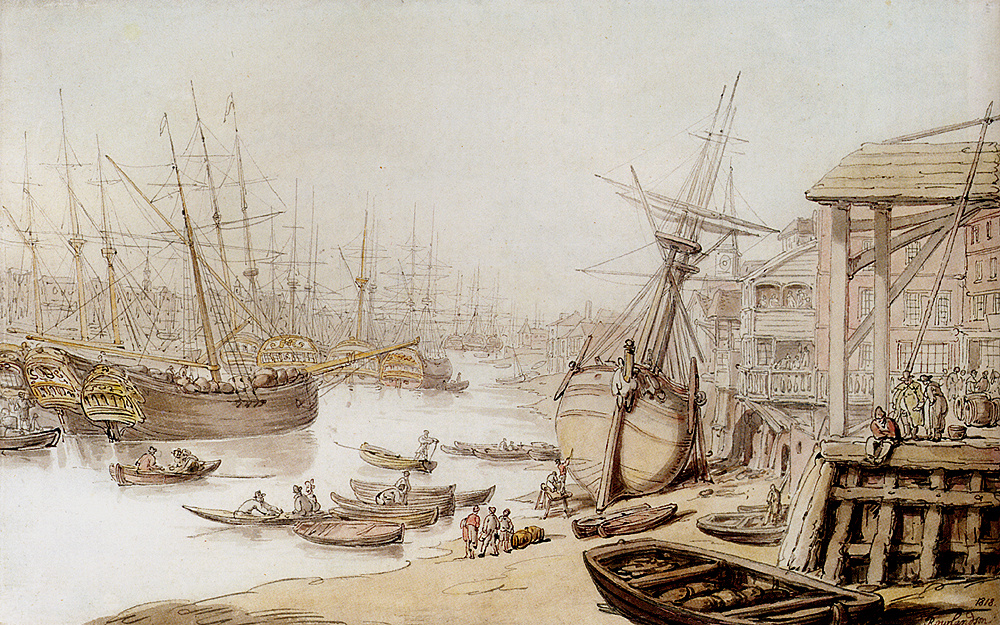 Томас Роулендсон. Вид на Темзу с многочисленными кораблями у причала